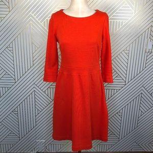 Boden Leila Ponte Dress in Firecracker Red Orange